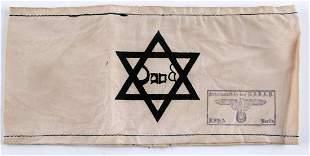 WWII GERMAN THIRD REICH JEWISH STAR CAMP ARMBAND