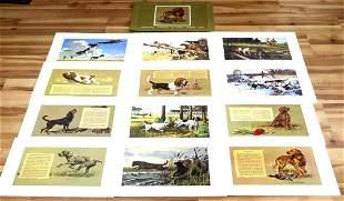LOT OF 12 REMINGTON LITHOGRAPH HUNTING DOG PRINTS