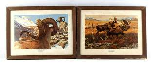 2 REMINGTON PRINTS SHEEP SHANGRI LA ACROSS TUNDRA