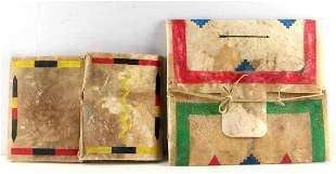 2 HAND PAINTED PLAINS INDIAN PARFLECHE BAG LOT