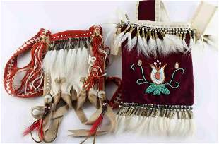 PLAINS INDIAN BEADED FELT AND LEATHER  PURSE LOT