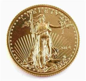 2014 GOLD 1/4 OZ GOLD AMERICAN EAGLE BU COIN
