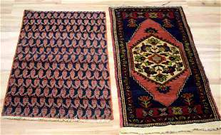 VINTAGE WOOL ASIAN MID EASTERN SMALL RUG LOT OF 2