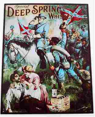 DEEP SPRING WHISKEY CONFEDERATE THEME WALL SIGN