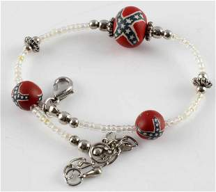 CONFEDERATE REBEL FLAG WOODEN BEAD BRACELET