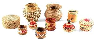 LOT OF 10 WESTERN NATIVE AMERICAN WOVEN BASKETS