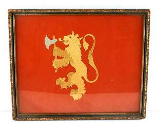 WWII ERA EMBROIDERED NORWEGIAN LION IN FRAME