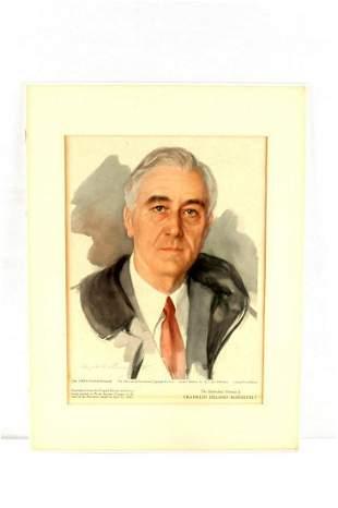 UNFINISHED PORTRAIT OF FDR ROOSEVELT VINTAGE PRINT