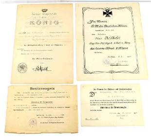 4 WWII THIRD REICH GERMAN MILITARY DOCUMENTS NAMED