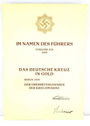 WWII GERMAN UNISSUED GERMAN CROSS GOLD DOCUMENT