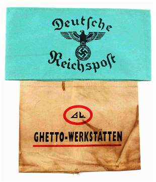 WWII GERMAN POST OFFICE & GHETTO ARMBAND