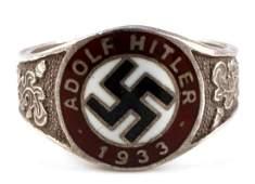 WWII THIRD REICH GERMAN ADOLF HITLER SILVER RING