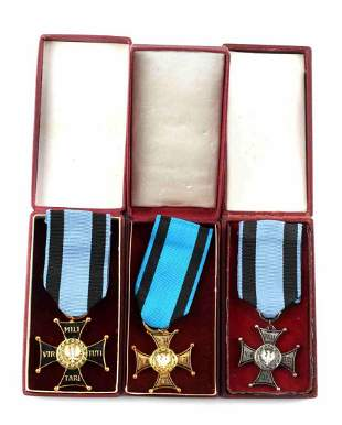 LOT OF 3 VIRTUTI POLISH MEDALS 3RD TO 5TH CLASS