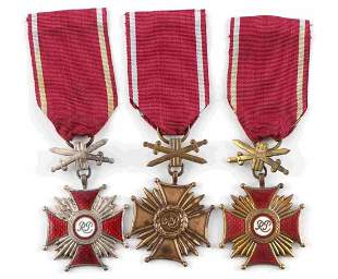 LOT OF 3 POLISH MERIT CROSS FIRST TO THIRD CLASS