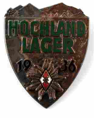 WWII THIRD REICH GERMAN HOCHLAND LAGER HITLER PIN