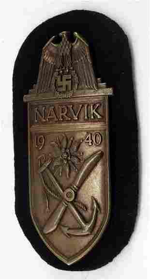 WWII GERMAN NARVIK SHIELD FOR KRIEGSMARINE TROOPS
