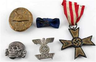 5 WWII GERMAN THIRD REICH ASSORT MEDAL & BADGE LOT