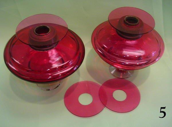 705: ANTIQUE CRANBERRY CLEAR BASE OIL LAMP BOWLS  PAIR