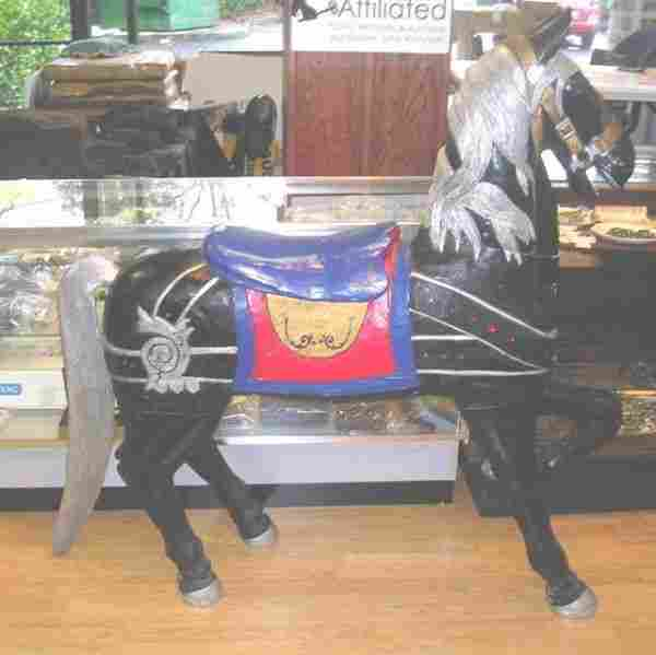 VINTAGE CAROUSEL HORSE WOOD PLASTER BLACK BODY