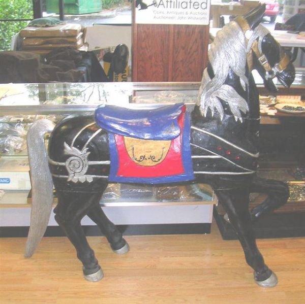 707: VINTAGE CAROUSEL HORSE WOOD  PLASTER BLACK BODY