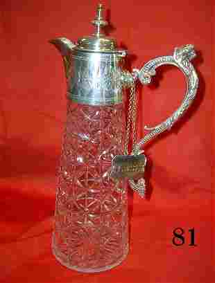 ANTIQUE CLARET PRESSED GLASS JUG SILVER PLATED LI