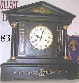 ANTIQUE MANTLE CHIME CLOCK GREEK TEMPLE
