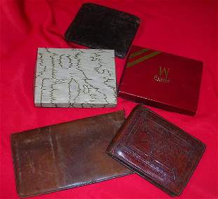 ANTIQUE TOOLED LEATHER MENS WALLET & CUFFLINK LOT