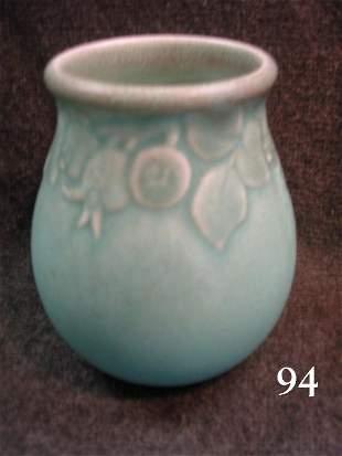 7094: ROOKWOOD ART POTTERY VASE 1927 TURQUOISE MATTE FR