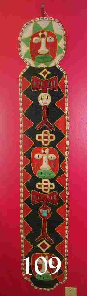 AFRICAN YORUBA HANDMADE TEXTILE BEADED BANNER
