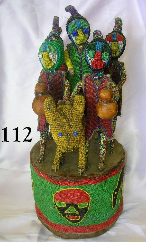 70112: AFRICAN YORUBA HANDMADE TEXTILE BEADED CROWN RAR