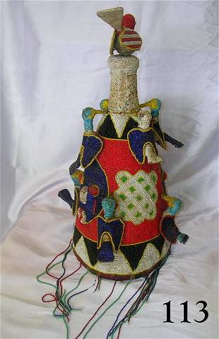 AFRICAN YORUBA HANDMADE TEXTILE BEADED CROWN RAR