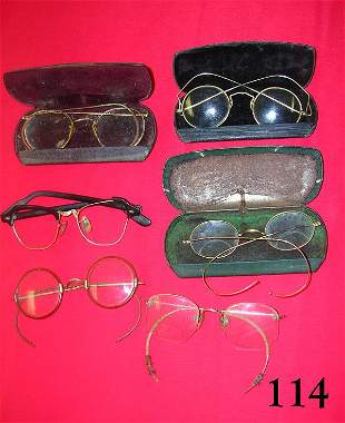 ANTIQUE VINTAGE EYEGLASS LOT OF 6 W GOLD WIRE
