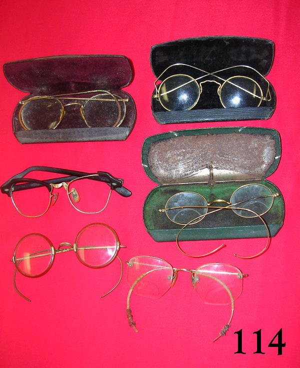 70114: ANTIQUE VINTAGE EYEGLASS LOT OF 6 W GOLD WIRE