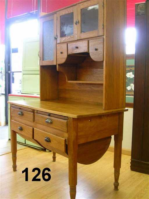 - 70126: ANTIQUE POSSUM BELLY BAKERS CABINET OAK 1900