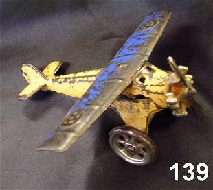 WWI US KILGORE TOY AIRPLANE BLUE CAST IRON