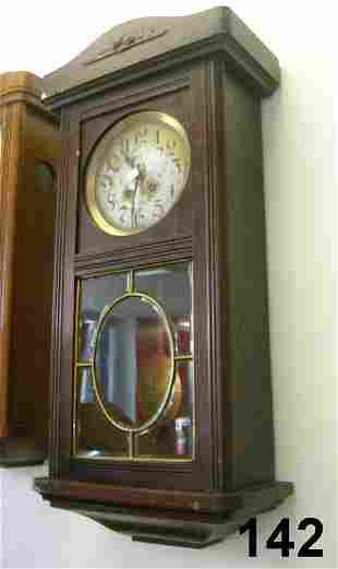 ANTIQUE PENDULUM WALL CLOCK WALNUT W BEVELED GLA