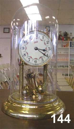 SCHATZ ANNIVERSARY PENDULUM CLOCK W GLASS DOME