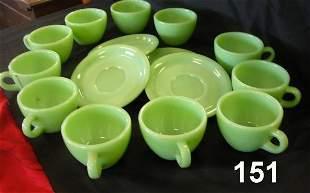 VINTAGE FIREKING JADEITE CUPS SAUCER LOT 14