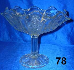 ANTIQUE THISTLE PANELLED CUT GLASS COMPOTE