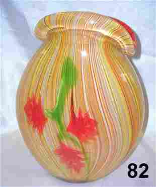 ITALIAN ART GLASS VASE ORANGE YELLOW RED GREEN