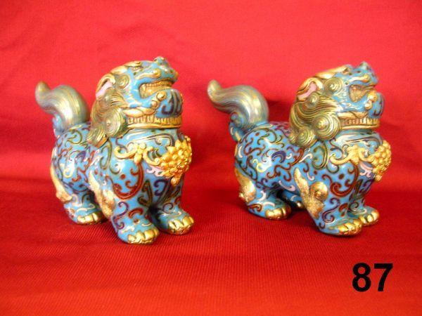 ANTIQUE CHINESE CLOISONNE FOO LIONS PAIR JAR FIGU