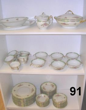 7091 Antique Hw Czechoslovakia China Set W 56 Pieces