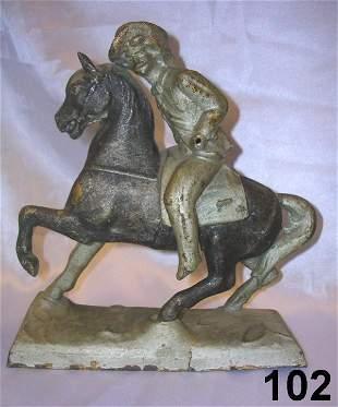 ANTIQUE BUFFALO BILL ON HORSE POT METAL STATUTE