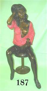 70187: VINTAGE RISQUE NUDE BRONZE LADY EROTIC ON STOOL