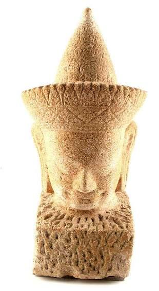 ANTIQUE THAI SANDSTONE BUDDHA HEAD SCULPTURE