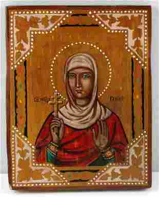 ANTGIQUE RUSSIAN ICON OF TATIANA HAND PAINTED WOOD