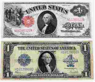 2 LARGE BANKNOTE LOT 1923 BLUE SEAL1917 RED SEAL
