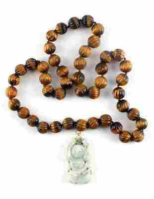 VINTAGE JADE PENDANT AND TIGERS EYE BEAD NECKLACE