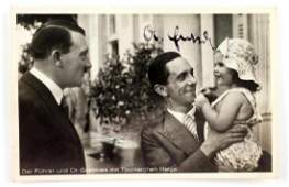 WWII GERMAN AUTOGRAPHED PHOTO OF GOEBBELS & HITLER