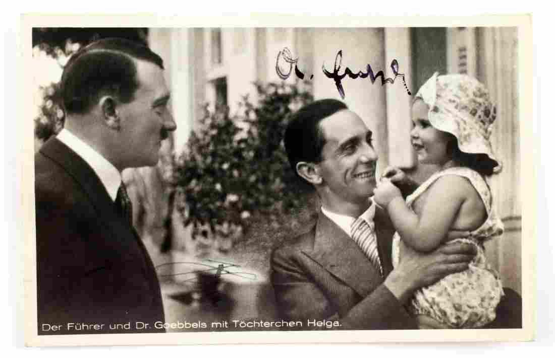 WWII GERMAN AUTOGRAPHED PHOTO OF GOEBBELS & HITLER